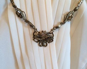 1900s Antique Art Nouveau Brass Pearl Necklace