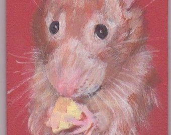 Rat ,rat with cheese ACEO,  small portrait of pet, aceo magnet  aceo on easel,art trading card,collectible art,small art, acrylic