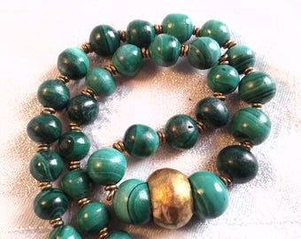Vintage Malachite Bead Necklace with Brass Focal Bead.
