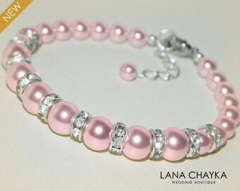 Pink Pearl Bridal Bracelet Swarovski Rosaline Pearl Silver Bracelet Blush Pink Wedding Bracelet Bridesmaid Bridal Light Pink Pearl Jewelry
