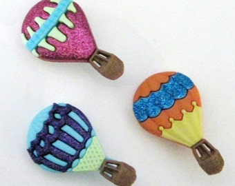 Hot Air Balloons  Buttons Set of 3