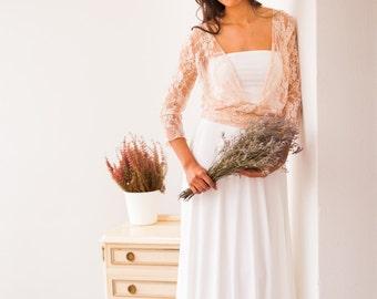 Wedding dress sleeves, rose quartz bridal gown, pastel pink lace wedding dress, romantic bohemian wedding dress, blush lace bridal gown