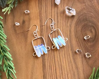 Wire wrapped opalite earrings/unique crystal jewelry gift for her/opalite and silver earrings/boho chic jewelry/gemstone earrings