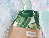 Green Palm Print Purse / Mini Sandbag Beach Bag / Banana Leaf Tote