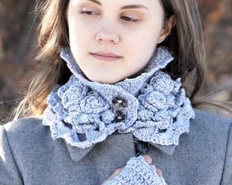 Elegant Rose scarf, light blue mauve rose scarf, READY to SHIP, light blue mauve scarf with rose accents, crochet scarf