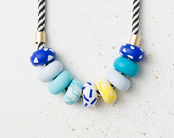 Chunky necklace, Colorful necklace, Statement necklace, Blue Modern necklace, Geometric necklace, Geometric jewelry, Polymer Clay necklace