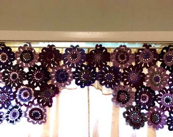 Crochet Flower Curtain in Shades of Purple