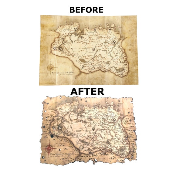 Skyrim Collector\'s Map Poster Hand Made Wall Art