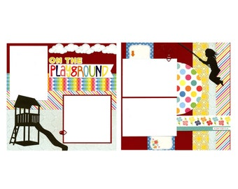 On the Playground - Two Premade Scrapbook Pages
