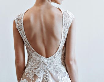wedding dress low back  Jose, champagne wedding dress with beaded lace
