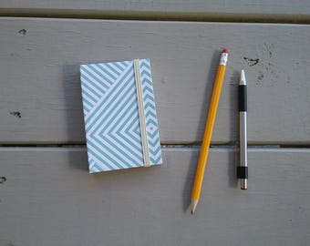 """Green and White Stripes Pattern Pocket-sized Handmade Notebook - approx. 3""""x4"""" - blank, 100 pages - elastic closure"""