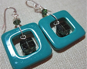 Not Just for Squares Deep Green Earrings - E279
