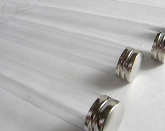 """50 qty. Clear Plastic Favor Tubes, Storage Tubes, 6"""" tall, Silver Caps, Wedding Favor Tubes, Party Favor Container"""