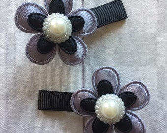 DUO clips and floral elastics / hair clip