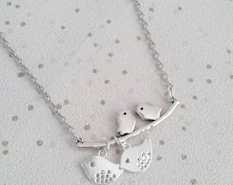 bird necklace children chicks family silver charm necklace