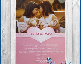 10 x Personalised Birthday Thank you Party/Present Cards Invitations Twins  With Envelopes