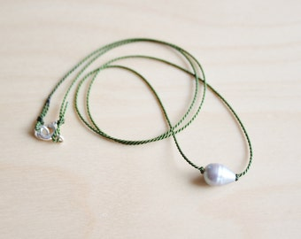 Minimalist pearl necklace / dainty silk thread necklace / wish necklace / protection necklace