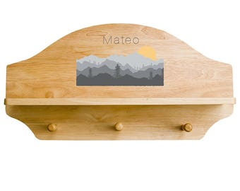 Personalized Natural Wall Rack and Shelf with Misty Mountain Design SHEL-nat-245