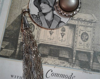 Roaring 20s- upcycled assemblage brooch