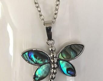 Abalone dragonfly pendant, abalone dragonfly necklace, abalone dragonfly pendant, dragonfly pendant, dragonfly necklace, abalone pendant