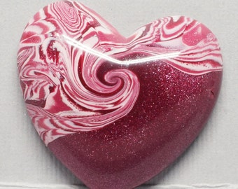 Pink Polymer Clay Heart Cabochon Strawberry Swirl  - Irregular