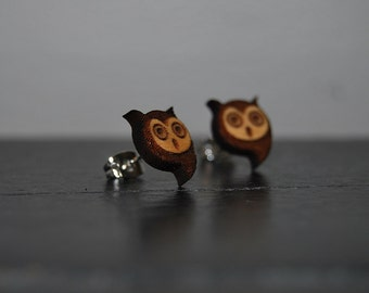 Engraved Wood Modern Owl Earrings with Nickel Free Studs!