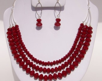 Ruby Quartz Triple Strand Necklace and Earring set