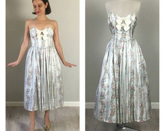 Vintage 80s Gunne Sax strapless bow dress  SMALL