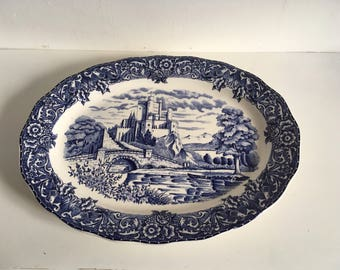 Castle Scene Blue and White Japanese Meat Plate