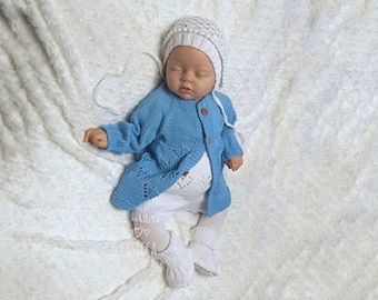 Knitted baby boy coming home outfit Knit baby blue cotton romper Baby knitted clothes Hand knitted newborn boy outfit Baby cotton romper