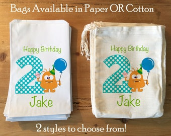 10 Monster Birthday Bags. Party Favor, Gift Basket Ideas. Vintage design. Personalized. Muslin Cotton Drawstring 6x8 7x9 7x11""