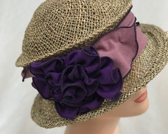Straw Travel Hat- Seagrass and Jersey - Dusty Purple and Purple- Lavinia