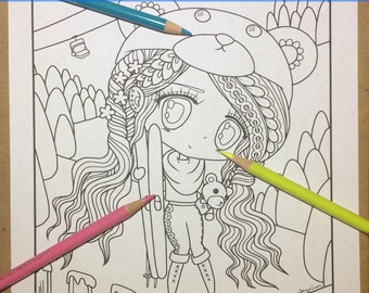 Chibi Doodle Fantasy Anime Manga Coloring Page for Adult Coloring PDF download by JennyLuanArt