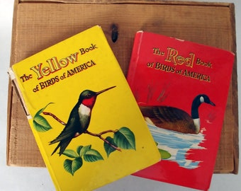 1954 Bird Guide Books, Set of 2, Birds of America Guide, Yellow Book, Red Book of Birds