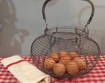 Vintage French Wire Egg Basket,  Home decor, Rustic Kitchen Decor, Country Kitchen Decor