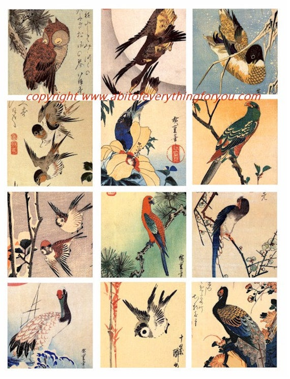vintage birds trees watercolor art clip art digital download collage sheet 2.5 inch squares animal graphics images craft printables