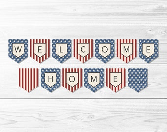 Welcome Home Stars & Stripes Banner -- Welcome Home Banner, Military Banner, Patriotic Banner, Homecoming Party, Printable, Instant Download