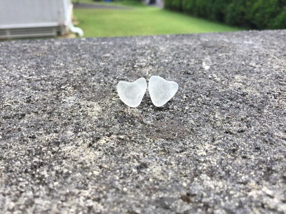 Surf Tumbled, White Frosted, Heart Shaped Seaglass, Hypoallergenic Stainless Steel Stud Earrings