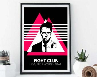 074 Fight Club Movie Poster Tyler Durden Art, Quote, Black and White, Pink, Brad Pitt, Ed Norton, Contemporary, Modern, Wall Art, Home Decor
