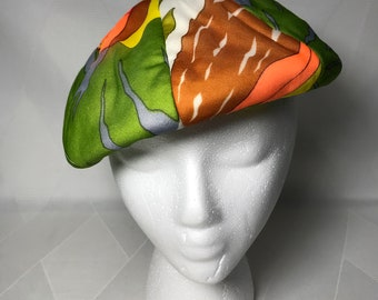 Vintage 1960s Mod Print Psychedelic Quilted Beret