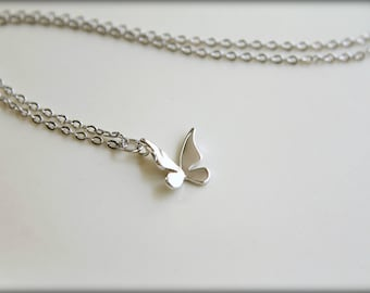 Simple Folded Butterfly Necklace, Available in Silver and Gold