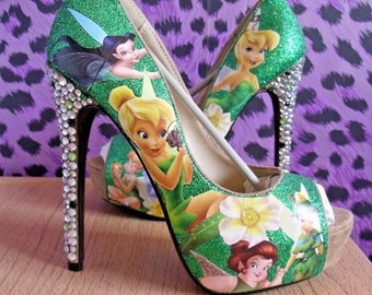 New Ladies Tinkerbell high heel shoes size UK 4/37 Disney green
