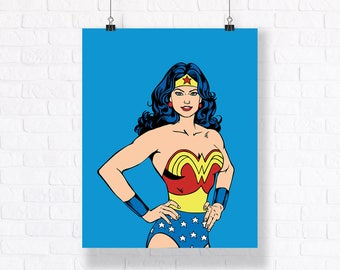 Wonder Woman Portrait - Customizable Comic Book Illustration, High Quality Poster and Wall Art
