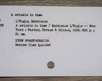 Library catalog card : A Wrinkle In Time by Madeleine L'Engle