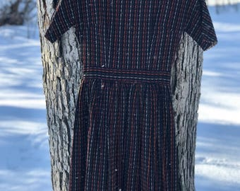 70's handmade short sleeve fit and flare dress