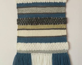 Made to order Handwoven wall hanging/Woven/ Tapestry/Weaving/Handloom/Blue-Light green-Cream shades