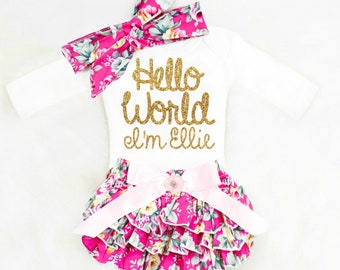Baby Shower Gift Baby Girl Coming Home Outfit Baby Girl Going Home Outfit Hello World Newborn Girl Clothes Baby Girl Clothes Winter