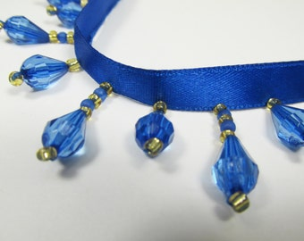 Royal Blue and Gold Short Beaded Fringe Trim for Costume, Lamp or Teardrop Beaded Decorator Trim
