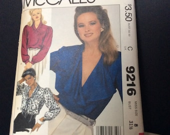 Vintage McCall's Blouse Pattern - 9216 -Reduced Price