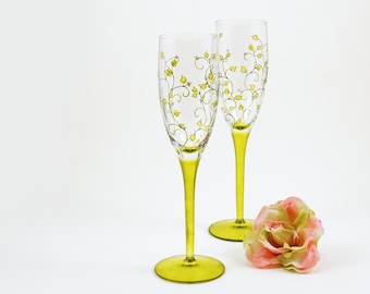 Champagne flutes, Bridal gift, Hand painted champagne glasses, Wedding gift - Set of 2 wine glasses - Liane collection
